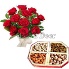 Dry Fruit Gift Pack and Roses Bunch